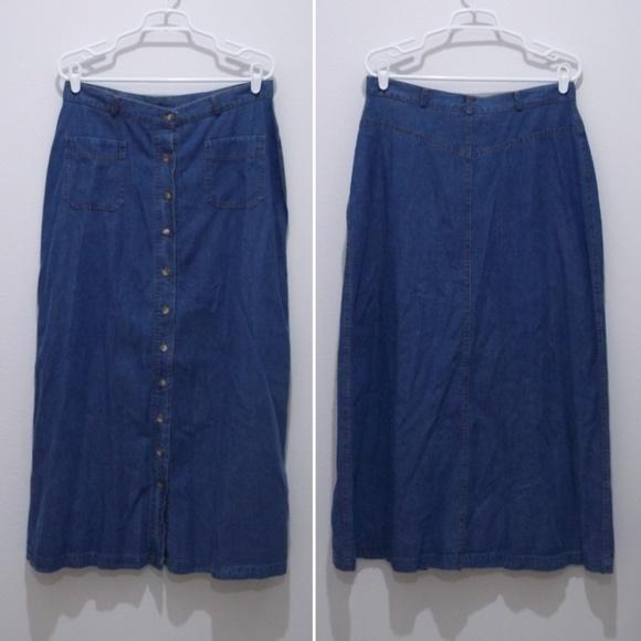 6745a82463 Orvis Skirts | Modest Denim Skirt No Slits 32 W Jean 1948 | Poshmark